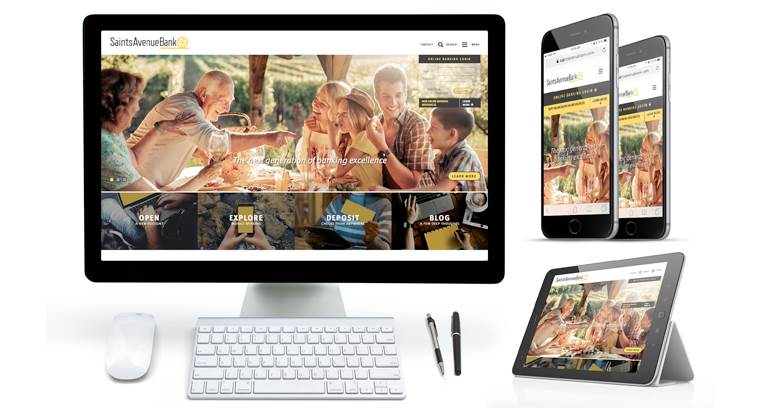 Saints Avenue Bank website redesign with LRS Antilles content management system CMS